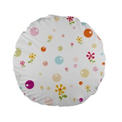 Flower Floral Star Balloon Bubble Standard 15  Premium Flano Round Cushions