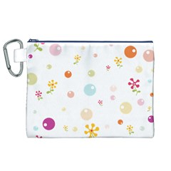 Flower Floral Star Balloon Bubble Canvas Cosmetic Bag (XL)