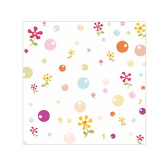 Flower Floral Star Balloon Bubble Small Satin Scarf (Square)