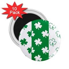 Flower Green Shamrock White 2.25  Magnets (10 pack)
