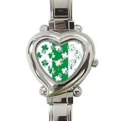 Flower Green Shamrock White Heart Italian Charm Watch