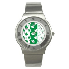 Flower Green Shamrock White Stainless Steel Watch
