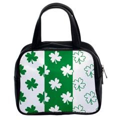 Flower Green Shamrock White Classic Handbags (2 Sides)