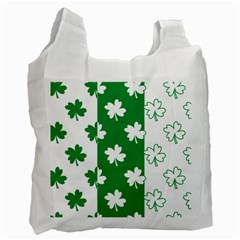 Flower Green Shamrock White Recycle Bag (Two Side)