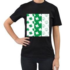 Flower Green Shamrock White Women s T-Shirt (Black)