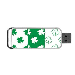 Flower Green Shamrock White Portable USB Flash (Two Sides)