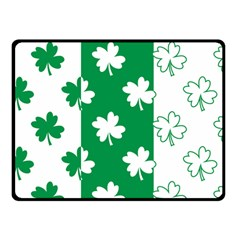 Flower Green Shamrock White Double Sided Fleece Blanket (small)