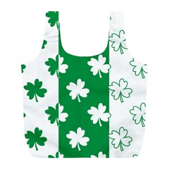 Flower Green Shamrock White Full Print Recycle Bags (L)