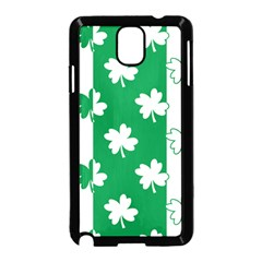 Flower Green Shamrock White Samsung Galaxy Note 3 Neo Hardshell Case (Black)