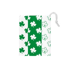 Flower Green Shamrock White Drawstring Pouches (Small)