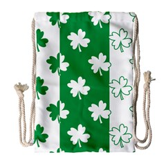Flower Green Shamrock White Drawstring Bag (Large)
