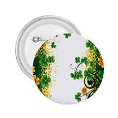 Flower Shamrock Green Gold 2.25  Buttons