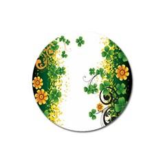 Flower Shamrock Green Gold Magnet 3  (Round)