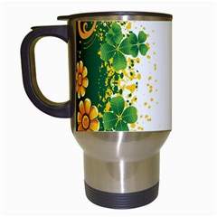 Flower Shamrock Green Gold Travel Mugs (White)