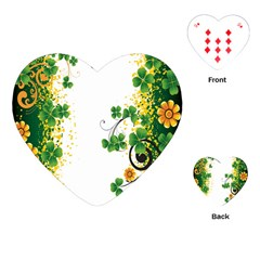 Flower Shamrock Green Gold Playing Cards (Heart)