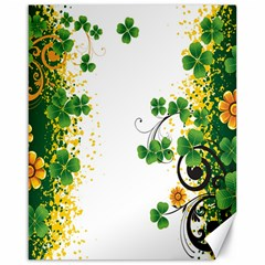 Flower Shamrock Green Gold Canvas 16  x 20