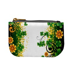 Flower Shamrock Green Gold Mini Coin Purses