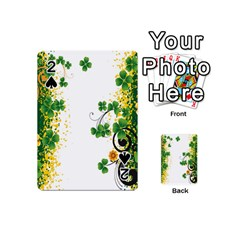 Flower Shamrock Green Gold Playing Cards 54 (Mini)