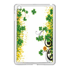 Flower Shamrock Green Gold Apple iPad Mini Case (White)