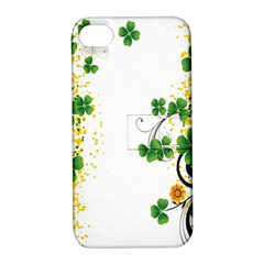 Flower Shamrock Green Gold Apple iPhone 4/4S Hardshell Case with Stand