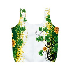Flower Shamrock Green Gold Full Print Recycle Bags (m)