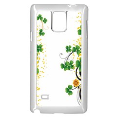 Flower Shamrock Green Gold Samsung Galaxy Note 4 Case (White)