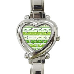 Flower Floral Green Shamrock Heart Italian Charm Watch