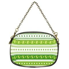Flower Floral Green Shamrock Chain Purses (Two Sides)