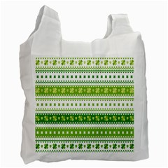 Flower Floral Green Shamrock Recycle Bag (one Side)