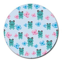 Frog Green Pink Flower Round Mousepads