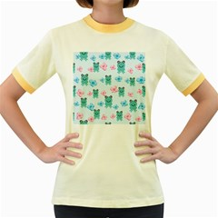 Frog Green Pink Flower Women s Fitted Ringer T-Shirts