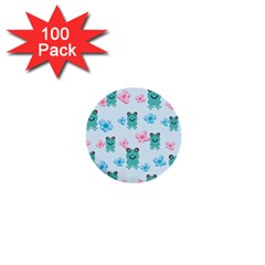 Frog Green Pink Flower 1  Mini Buttons (100 pack)