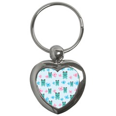 Frog Green Pink Flower Key Chains (Heart)