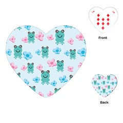 Frog Green Pink Flower Playing Cards (Heart)