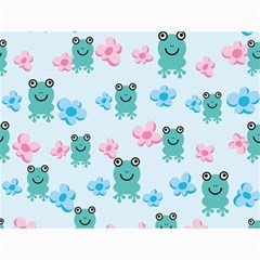 Frog Green Pink Flower Canvas 36  x 48