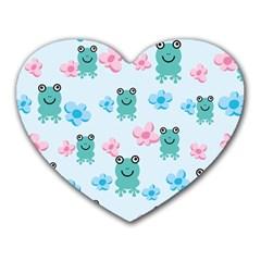 Frog Green Pink Flower Heart Mousepads