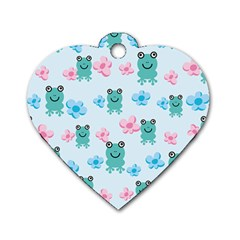 Frog Green Pink Flower Dog Tag Heart (One Side)