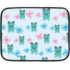 Frog Green Pink Flower Double Sided Fleece Blanket (Mini)