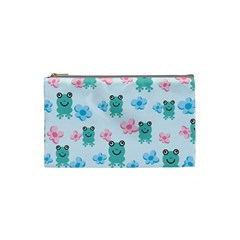 Frog Green Pink Flower Cosmetic Bag (Small)