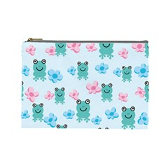 Frog Green Pink Flower Cosmetic Bag (Large)