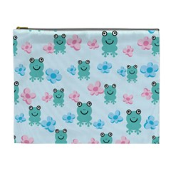 Frog Green Pink Flower Cosmetic Bag (XL)