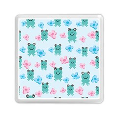 Frog Green Pink Flower Memory Card Reader (Square)