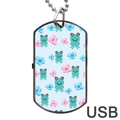 Frog Green Pink Flower Dog Tag USB Flash (Two Sides)