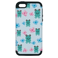 Frog Green Pink Flower Apple Iphone 5 Hardshell Case (pc+silicone)