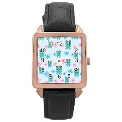 Frog Green Pink Flower Rose Gold Leather Watch