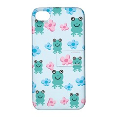 Frog Green Pink Flower Apple iPhone 4/4S Hardshell Case with Stand