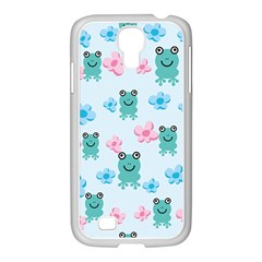 Frog Green Pink Flower Samsung GALAXY S4 I9500/ I9505 Case (White)