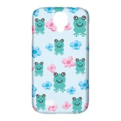 Frog Green Pink Flower Samsung Galaxy S4 Classic Hardshell Case (PC+Silicone)