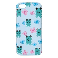 Frog Green Pink Flower iPhone 5S/ SE Premium Hardshell Case