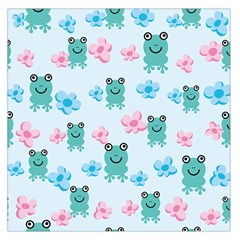 Frog Green Pink Flower Large Satin Scarf (Square)
